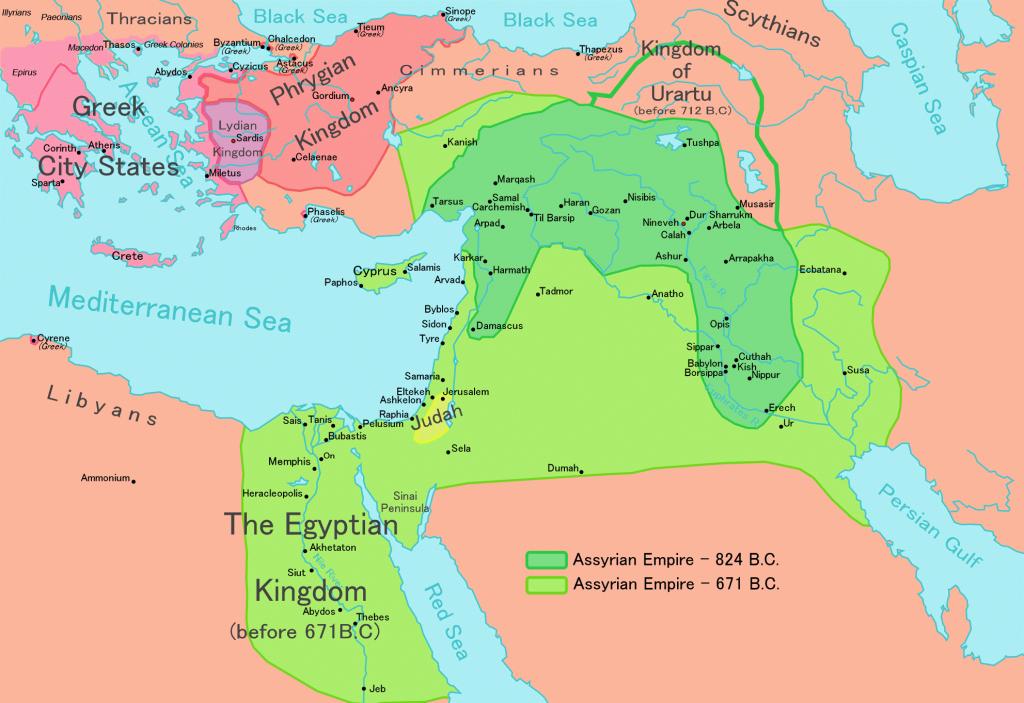 (Império Assírio no seu auge, fonte: Wikimedia Commons)