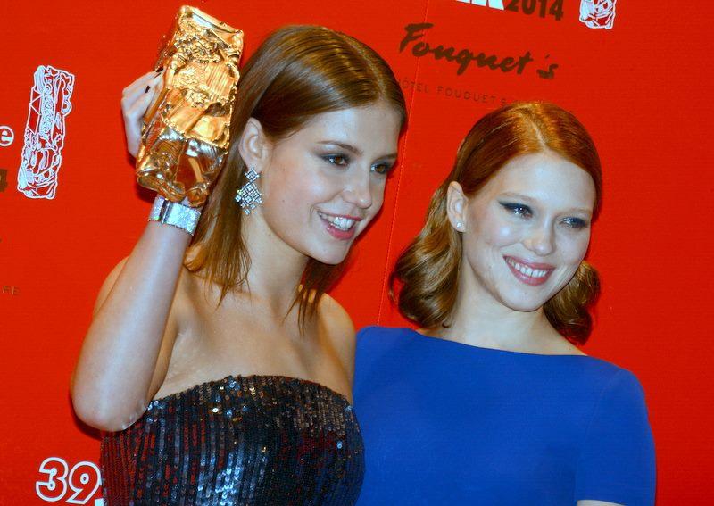 """Léa Seydoux e Adèle Exarchopoulos foram premiadas por """"Azul é a cor mais quente"""". Foto: Wikimedia"""